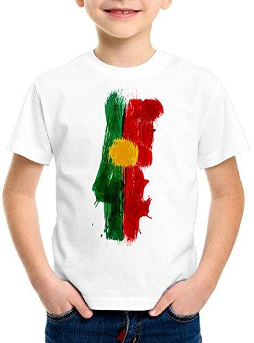 CottonCloud Flagge Portugal Kinder T-Shirt Fußball Sport WM EM Fahne, Farbe:Weiß, Größe:104