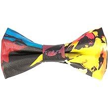 Pop Art Ties Pajarita de lazo de cuero atada Flores multicolores