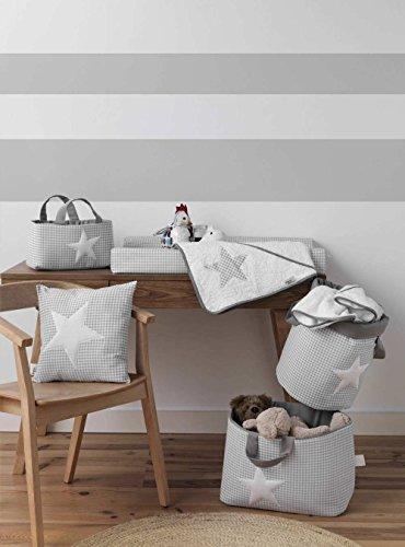 Funny Baby Vichy - Juguetero acolchado 30 x 45 x 27 cm, diseño estrellas, color gris