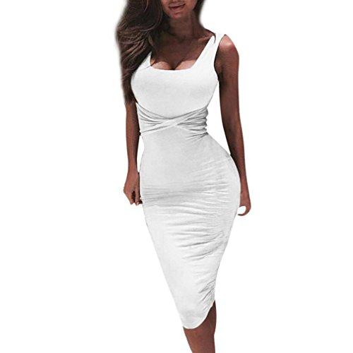 Honestyi Damen Kleid Kragen ärmellos engen Partykleider Elegant Kleines Schwarzes Etuikleider Abendkleider Casualkleider (L, Weiß)