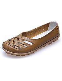 GRRONG Sandalias De La Mujer Zapatos Planos De Las Sandalias De Cuero De Zapatos De Verano Zapatos De Los Guisantes