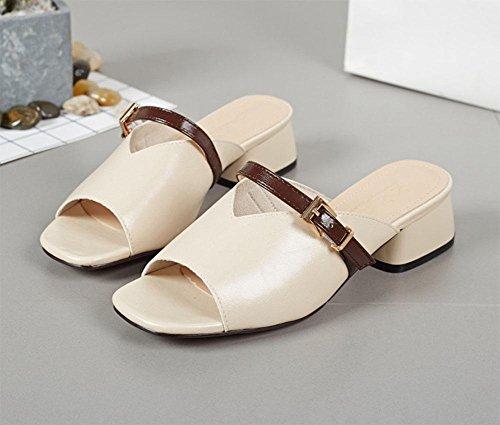 sandali La signora in pelle femminile di spessore con pesce selvatico bocca sandali open toe quadrati beige