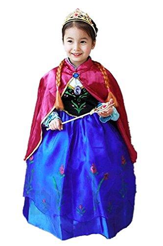 ELSA & ANNA® Ragazze Principessa abiti partito Vestito Costume IT-Dress-SEP208 (DRESS-208, 6-7 Anni)