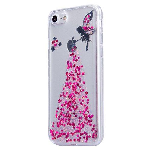 iPhone 7 Plus Hülle,iPhone 7 Plus 2016 Hülle,JAWSEU Luxus Gold Klare Ultradünne Silikon Gel Schutzhülle Durchsichtig Kristall Transparent TPU Silikon Bumper Schutz Handyhülle Case Tasche Etui für iPho Mädchen,Pink