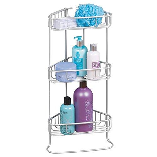 mDesign Scaffale bagno e doccia a 3 ripiani – scaffale angolare ideale per accessori per doccia, saponi o prodotti cosmetici – Colore: argentato