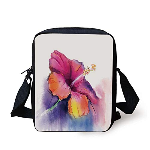 Watercolor Flower Home Decor,Hibiscus Flower in Pastel Abstract Romantic Petal Pattern,Orange Purple Print Kids Crossbody Messenger Bag Purse - Hibiscus Home Decor