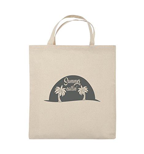 Comedy Bags - Summer callin - PALMEN - Jutebeutel - kurze Henkel - 38x42cm - Farbe: Schwarz / Silber Natural / Grau