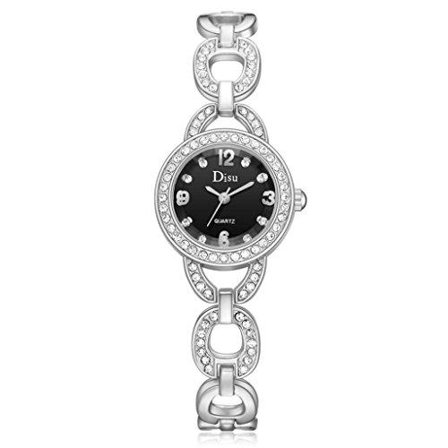 Elegante Roségoldarmbanduhr Damen, DoraMe Frauen 2018 Neue überzogene Strass Armband Uhr Mode Quarzuhr Kleid Uhren Casual Luxus Schmuck (E)