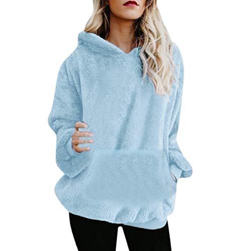 eujiancai Women Hoodie Ladies Plus Size Long Sleeve Warm-up Faux Fur Zipper Pocket Fleece Hooded Sweatshirt Oversized Coat (B Light Blue) -