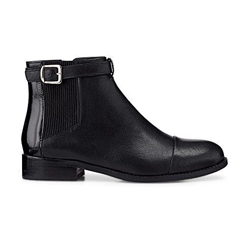 Cox Damen Damen Chelsea Boots aus Nappa-Leder, Elegante Stiefelelette in Schwarz mit Zipper an der Innenseite Schwarz Glattleder 41