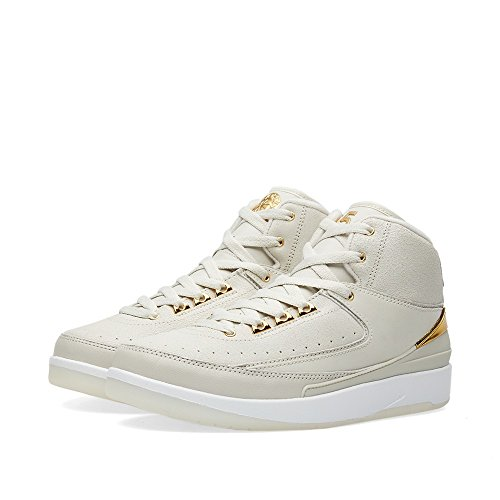 Nike Air Jordan 2 Retro Q54 Bg, espadrilles de basket-ball homme Blanco (Light Bone / Metallic Gold-White)