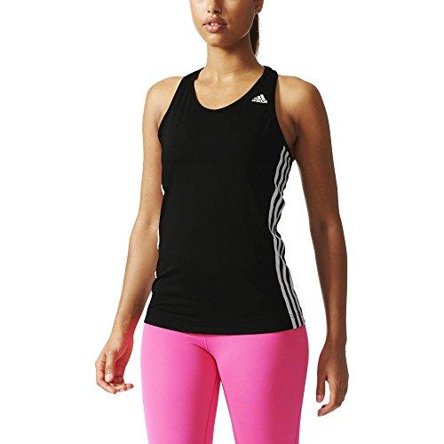 adidas Damen T-shirt Basic 3S Tank, Schwarz/Weiß, M, 4056561498578 (Racerback Tank Stripe)