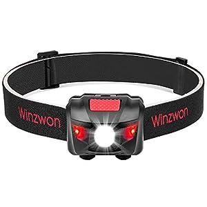 Winzwon Linterna Frontal Led Linterna de cabeza Super brillante 4 modos de brillo lámpara de cabeza Para Camping, Pesca, Ciclismo, Carrera, Caza etc, 3 pilas AAA Incl