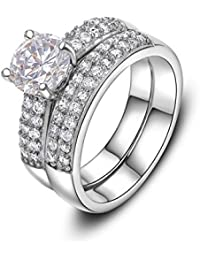 Silver Shoppee 'Circles Of Love' High Quality Genuine Austrian Crystal Sterling Silver Pair Of Rings For Girls...