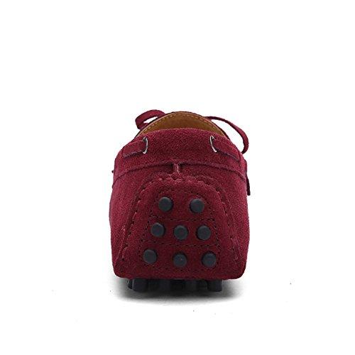 Shenn Homme Conduire Une Voiture Glisser Sur Confort Suède Mocassins Chaussures 3660 Acajou