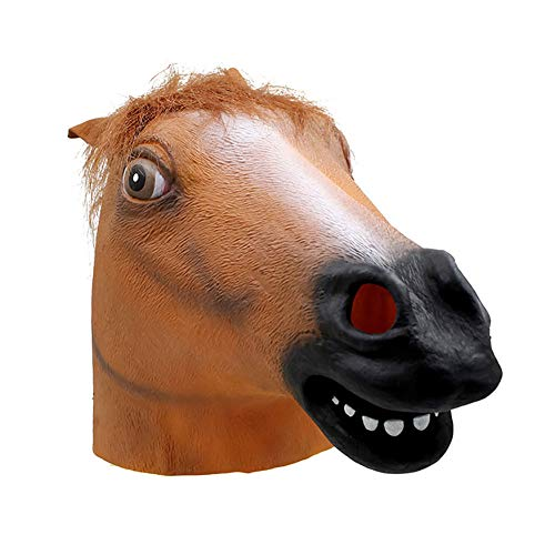 Black Kostüm Horse Head - XIAMIMI Mask Black Horse Head Halloween-Maskerade-Show Niedliche Naturlatex-Tierrequisiten,Braun