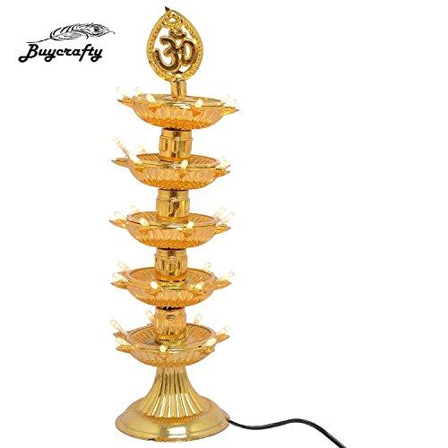 Buycrafty 5 Layer-electric Doré lampe Deepak lampe de riz de vœux de Noël Motif Diwali Décoration lumière LED