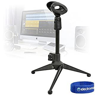 QTX Desktop Tabletop Studio Microphone Adjustable Height Foldable Tripod Stand