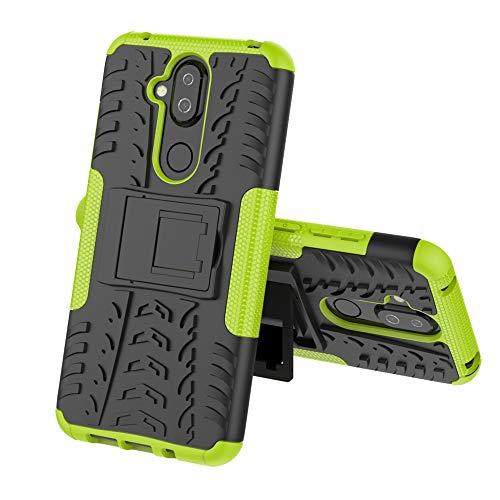 TenYll Nokia 8.1 Hülle, 2in1 Silikon Rückseite Schutzhülle,Heavy Duty Tough Rugged Shock Proof Case,Mit Halterung Doppeltem Schutz Cover für Nokia 8.1 -Grün