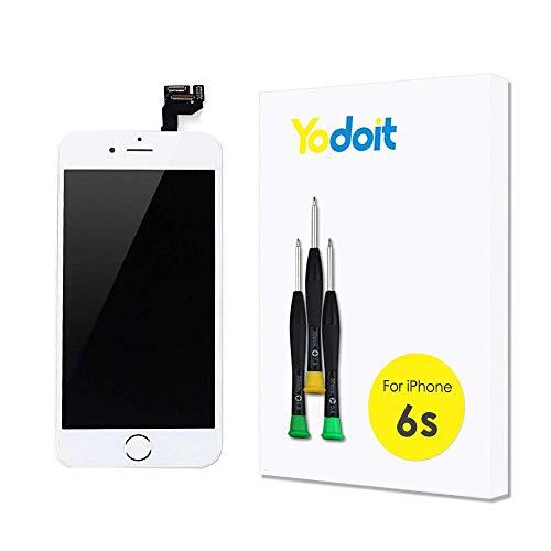 Yodoit Ersatz für LCD Touchscreen Digitizer Display für iPhone 6s Vormontiert mit Home Button, Hörmuschel, Frontkamera& Näherungssensor Reparaturset KomplettErsatzbildschirm mit Werkzeuge (Weiß)