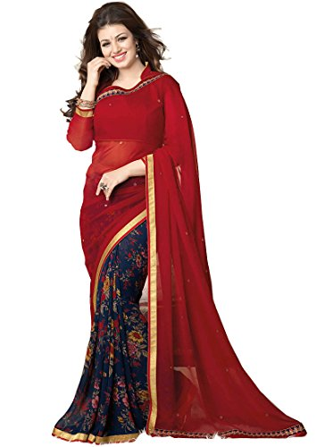 Raghav Trendz Women's Georgette Saree (Red & Blue)