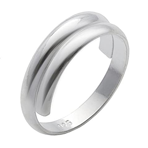 Silverly Women's .925 Sterling Silver Overlapping Plain Midi Finger Adjustable Band Toe Ring
