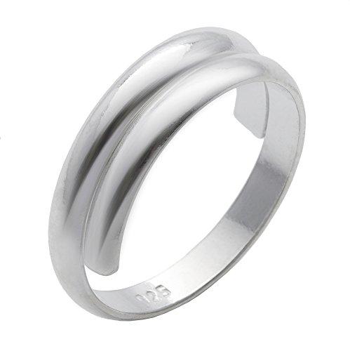 Silverly Frauen .925 Sterling Silber Ineinander Greifend Plain Midi Finger Einstellbare Band Zehenring