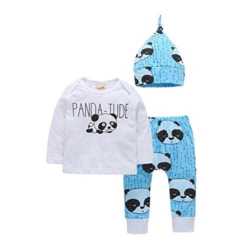 PanDaDa 3 PCs Baby Jungen Mädchen Kleidung Panda Druck Langarm Hoodie Tops Sweatsuit + Hosen + Hut Outfit Sets (Hose Sweatsuit)