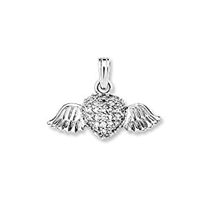 Amor Damen-Anhänger 925 geflügeltes Herz Sterling Silber rhodiniert Zirkonia weiß 18 mm – 320733