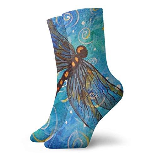 Kotdeqay Beautiful Dragonfly Crew Socks Funny Novelty Thin Casual Sport Comfort Work 11.8