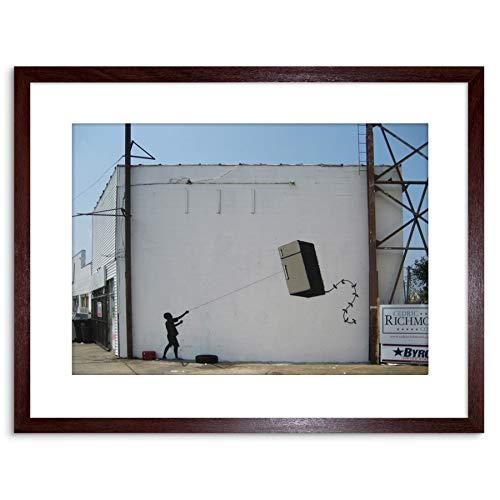 Wee Blue Coo Prints Banksy Fridge Kite Graffiti Street Art 9x7'' Framed Art Print F97x13702