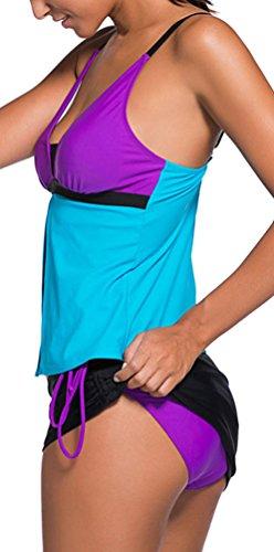 OLIPHEE Maillot de Bain Grossesse Femme Tankini Séduisant Push Up Rembourré 2 pièces Bikini Set Bleu Violet