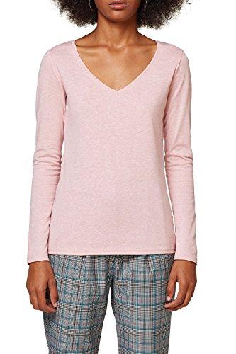 edc by ESPRIT Damen Langarmshirt 088CC1K016, Rosa (Old Pink 5 684), XX-Large