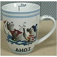 Ernährung Kaffeetasse Kaffeebecher Becher Maritim Mit Anker Und Spruch Ahoi Rostock Ts418