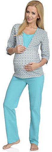 Be Mammy Femme Allaitement Ensemble de Pyjama Sandra Turquoise