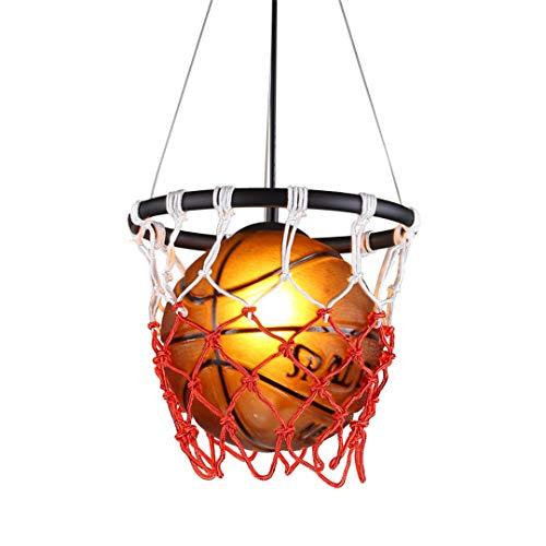 leuchten Basketball Glas Pendelleuchte Innenbeleuchtung Schlafzimmer Esszimmer Metall Leuchten Für Wohnkultur Red 12-24W ()