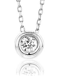 fedb51059a77 Orovi Collar Señora Solitario con cadena en Oro Blanco con Diamante Talla  Brillante 0.10 ct Oro