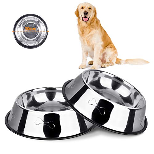 VIKEDI Hundenapf Edelstahl rutschfest, 2 Stück Edelstahl Hundenäpfe mit Rutschfester Gummibasis für Futter oder Wasser, Perfekte Haustier Futternapf für Mittelgroße und Große Hunde