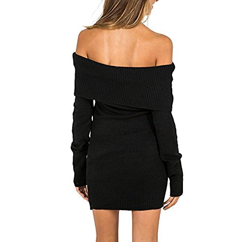 SUNNOW Femme Sexy Pull Tricot Epaule Nue Manches Longues Slim Jumpers Sweater Hauts Sweatshirt Noir