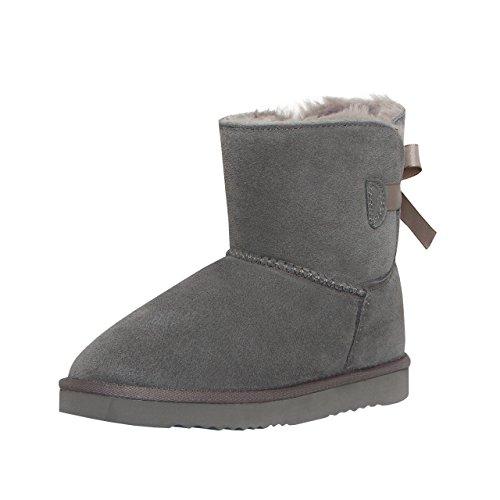 SKUTARI Mädchen Boots Single Bow - Wildleder, Gefüttert, Schleife (34, Grau/5017) (Wildleder Leder Boot)