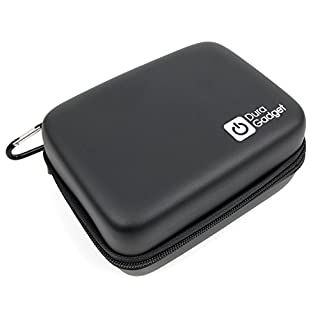 DURAGADGET Black Hard Shell EVA Box Case with Carabiner Clip & Twin Zips for the Ammiy BF-888S