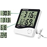 HTC-2 Digital LCD Temperature Thermometer Humidity Meter Clock with sencer cable