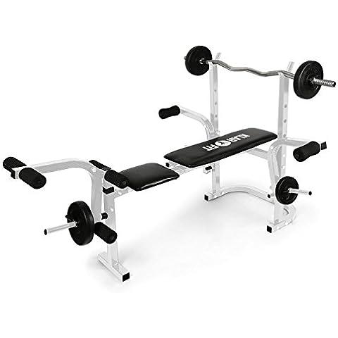 Klarfit Workout Hero banco de musculación (pesas, curl brazos y piernas, butterfly, cuádriceps, estructura metal, hasta 160 kg, acolchada cuero PVC, 3 inclinaciones) -