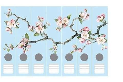 Cedon Ordnerrücken-Set - Kirschblüten blau, 7-teilig
