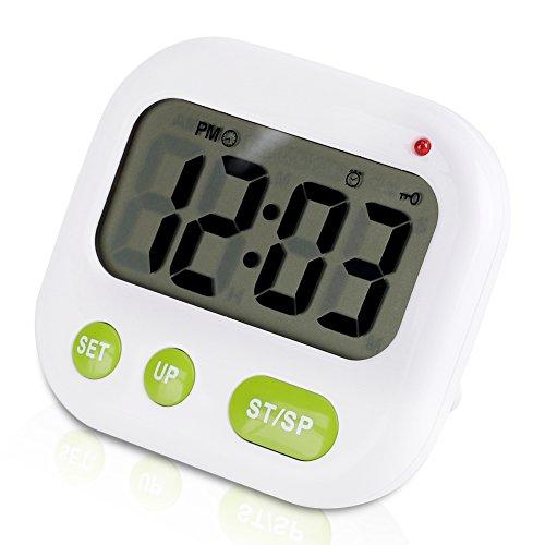 LED Wecker, Musik/Vibration Digital Wecker Elektronisch Küchenuhr Batteriebetrieben Modern Tragbar Timer-Uhr mit Hintergrundbeleuchtung, Passt zum Büro Schlafzimmer Wohnheim Reise, Weiß -