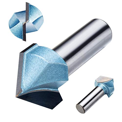 ZCHXD 1-Inch Cutting Dia 1/2-Inch Shank 90 Degree TCT 2-Flute V Type Grooving V-Groove Router Bit Cutter -