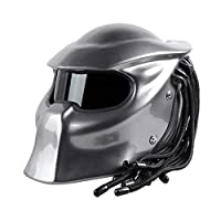 Yunyisujiao Motorcycle Helmet Predator Full Face Mask Man Fringed Braids LED light - incl ECE Approved (Color : XL)