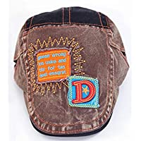 FOUGNOGKISSS Niños Bordado Cowboy Beret Hat Niños Sun Visor Sun Protection Flat Top Cap para 2-10 años de Edad (Color : Coffee, tamaño : 50-54cm)