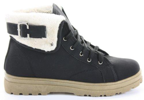Unbekannt Femme Ankle Boots, Biker de/Armée Style, plat, fourrure, 35,5–42EU/3–8UK Style 2 - Tan-Off White Fur
