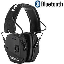 PROHEAR 030BT Bluetooth Casque Anti Bruit Oreillette Remplaçable,Casque tir de Chasse Amplificateur Sonore Réducteur de Bruit (Noir)